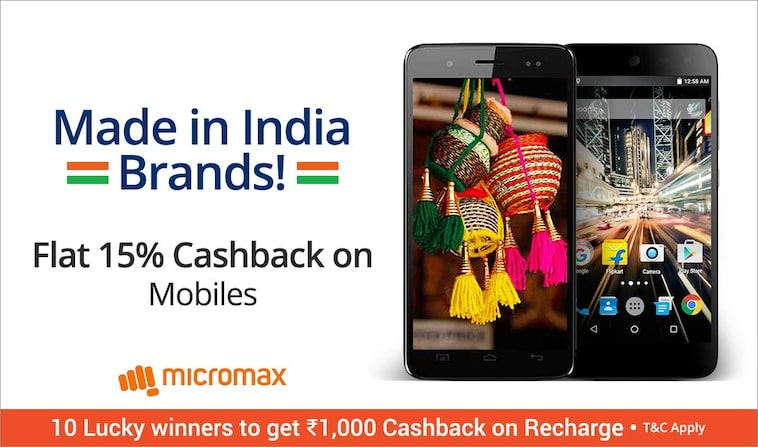 Paytm - Made In India Mobiles Flat 15% cashback