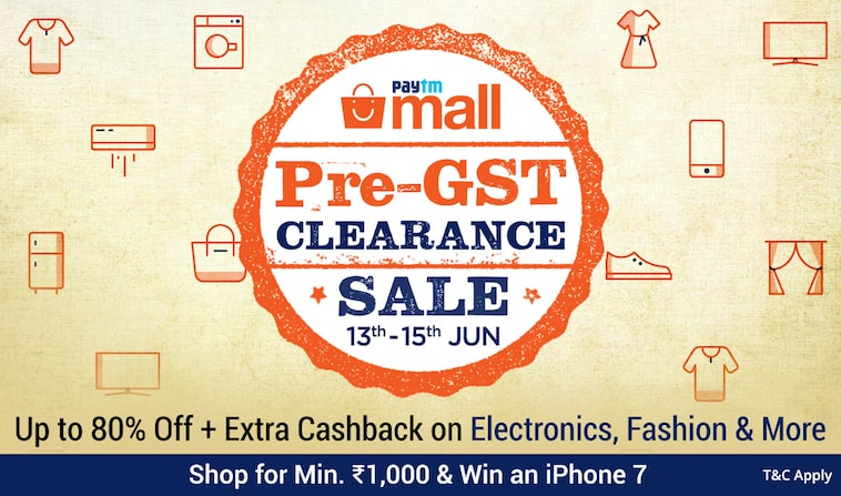 PayTm Mall Pre -GST Clearance Sale [13th- 15th June]