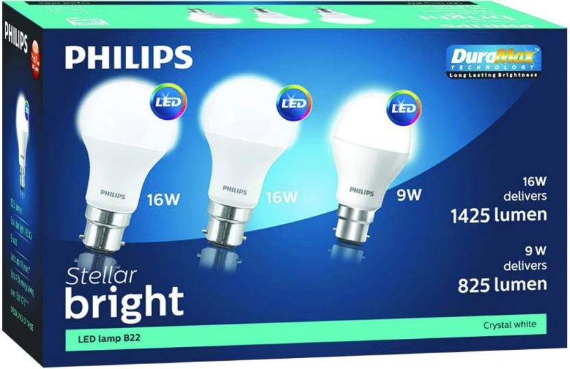 Philips 16 W, 9 W Standard B22 LED Bulb  (White, Pack of 3)