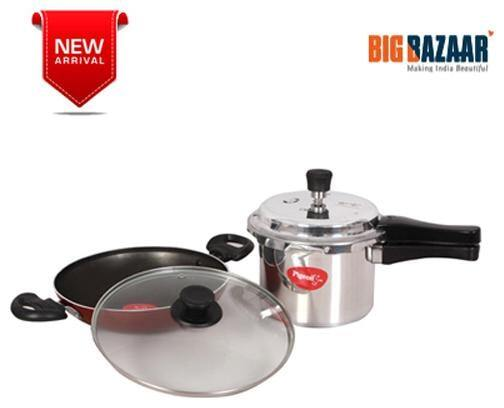 Pigeon Pressure Cooker outer Lid 3 Ltr and Non Stick Kadai 240mm with Lid