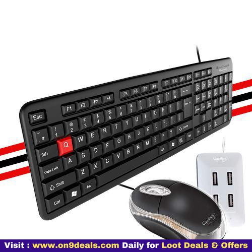 Quantum Wired USB Combo with Keyboard, Mouse and 4 Port USB-Hub