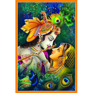 Radha Krishna Spiritual Beautiful Wallpaper Sticker Multicolor (12 X 18 Inch)