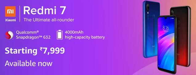 Redmi 7 2GB Ram @ Rs.7999 & 3GB Ram @ Rs.8999 Android Mobile With Snapdragon 632 4000 mAh Battery