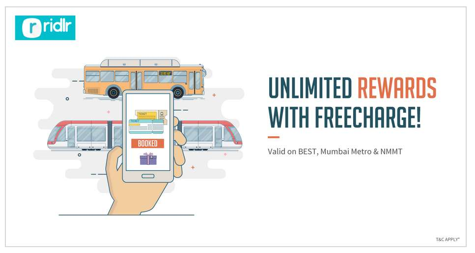 Ridlr - Best, Mumbai metro and NMMT passes upto 100% Cashback with FreeCharge wallet