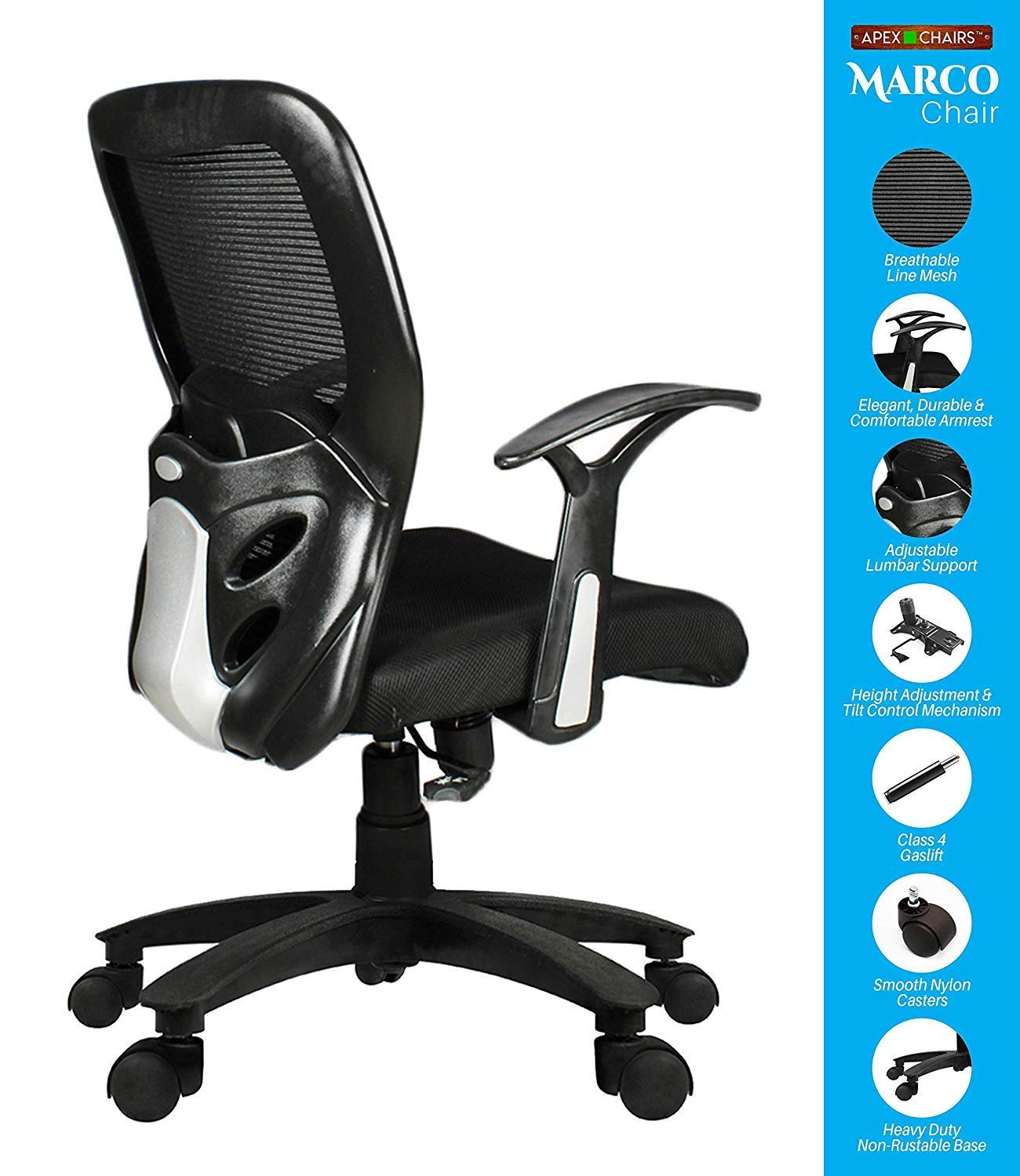SAVYA HOME APEX Chairs MARCOZY Star Base Medium Back Office Chair Standard Black