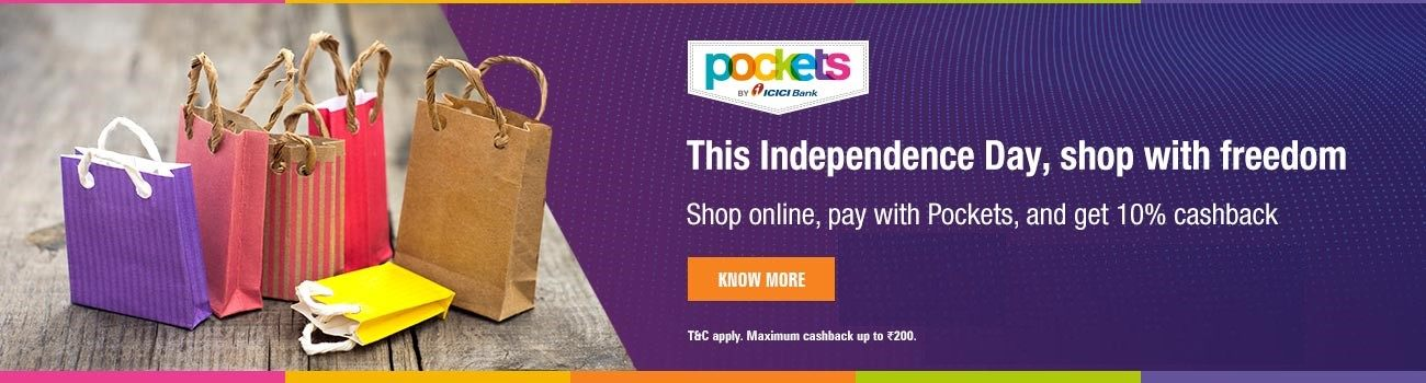 Shop Online Pay with ICICI Pockets Card & Get 10% Cashback upto Rs.200