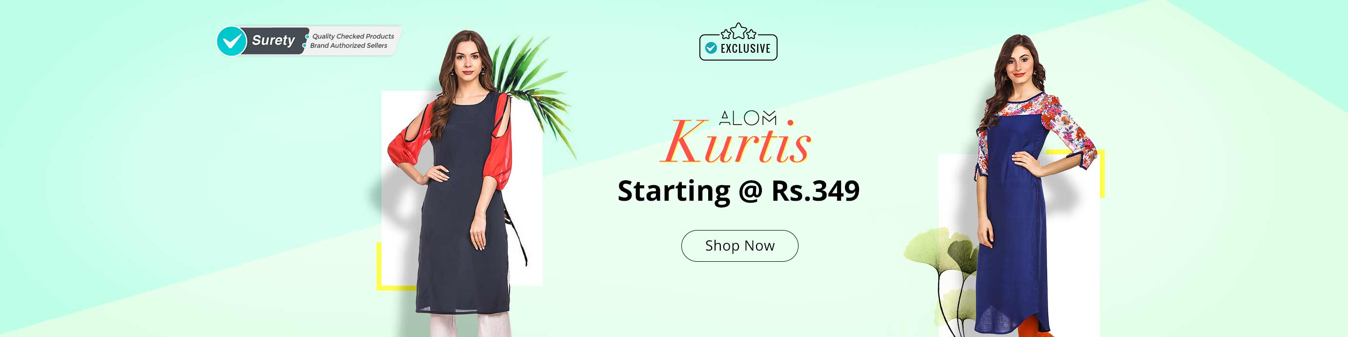 Shopclues - Alom Women's Stitched Kurta Upto 80% Discount Starts Rs.349