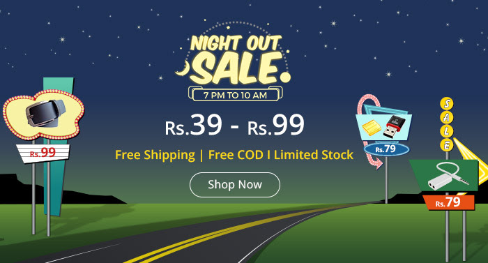 Shopclues - Deals from Rs.39- Rs.99 on Night Out Sale | Free Shipping & COD