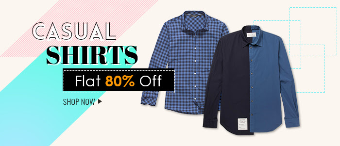 Shopclues - Men Casual Shirts Minimum 80% Discount + 10% Cashback