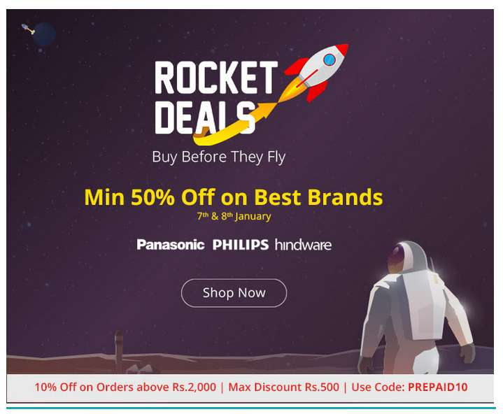 Shopclues - Rocket Deals Minimum 50% Discount On Selected Products + FreeShipping