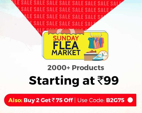 Shopclues - Sunday Flea Market Products Up to 90% Discount + Extra 20% Cashback