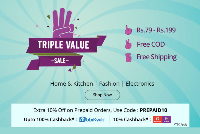 Shopclues - Triple Delight Sale – Under Rs. 199/- FreeShipping + Extra 10% Off on all prepaid orders