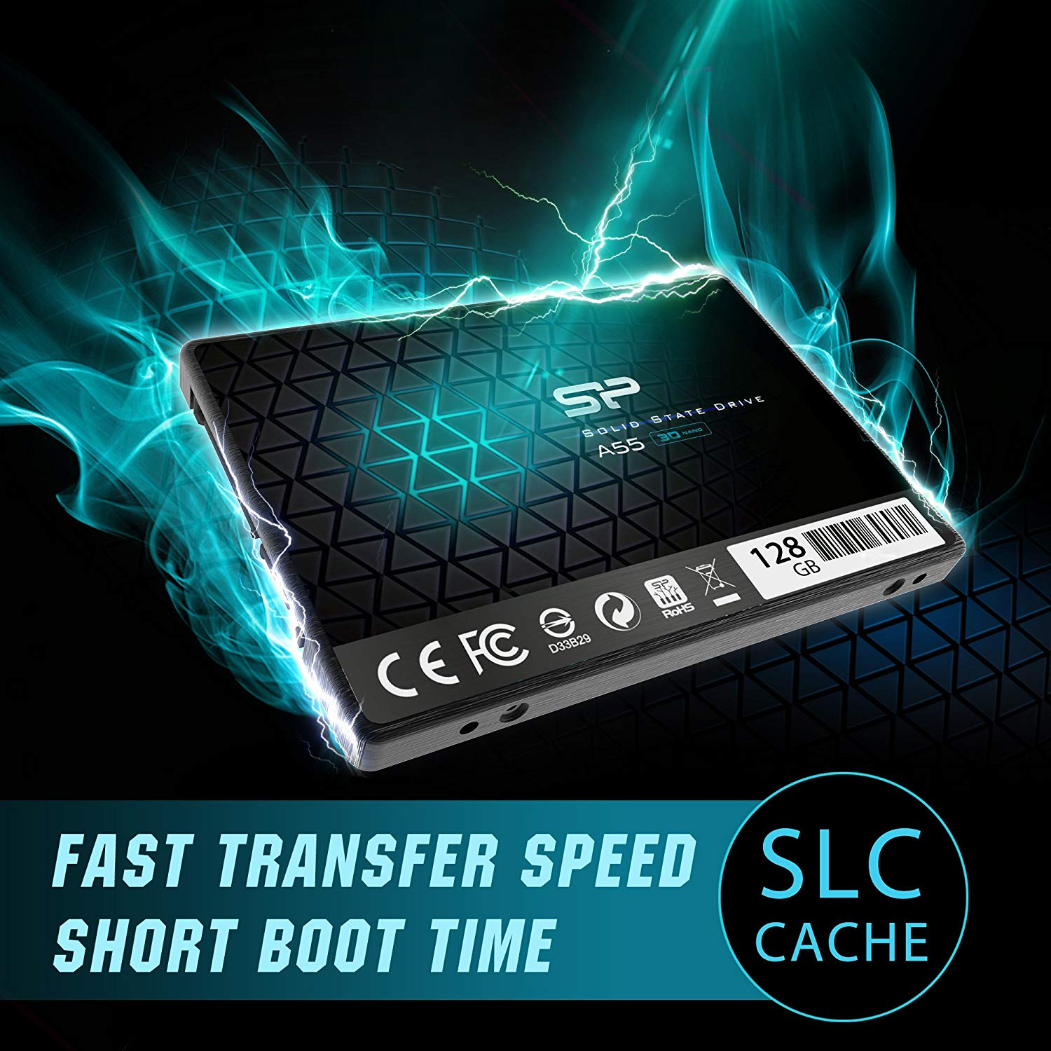 Silicon Power 128GB SSD 3D NAND A55 SLC Cache Performance Boost SATA III