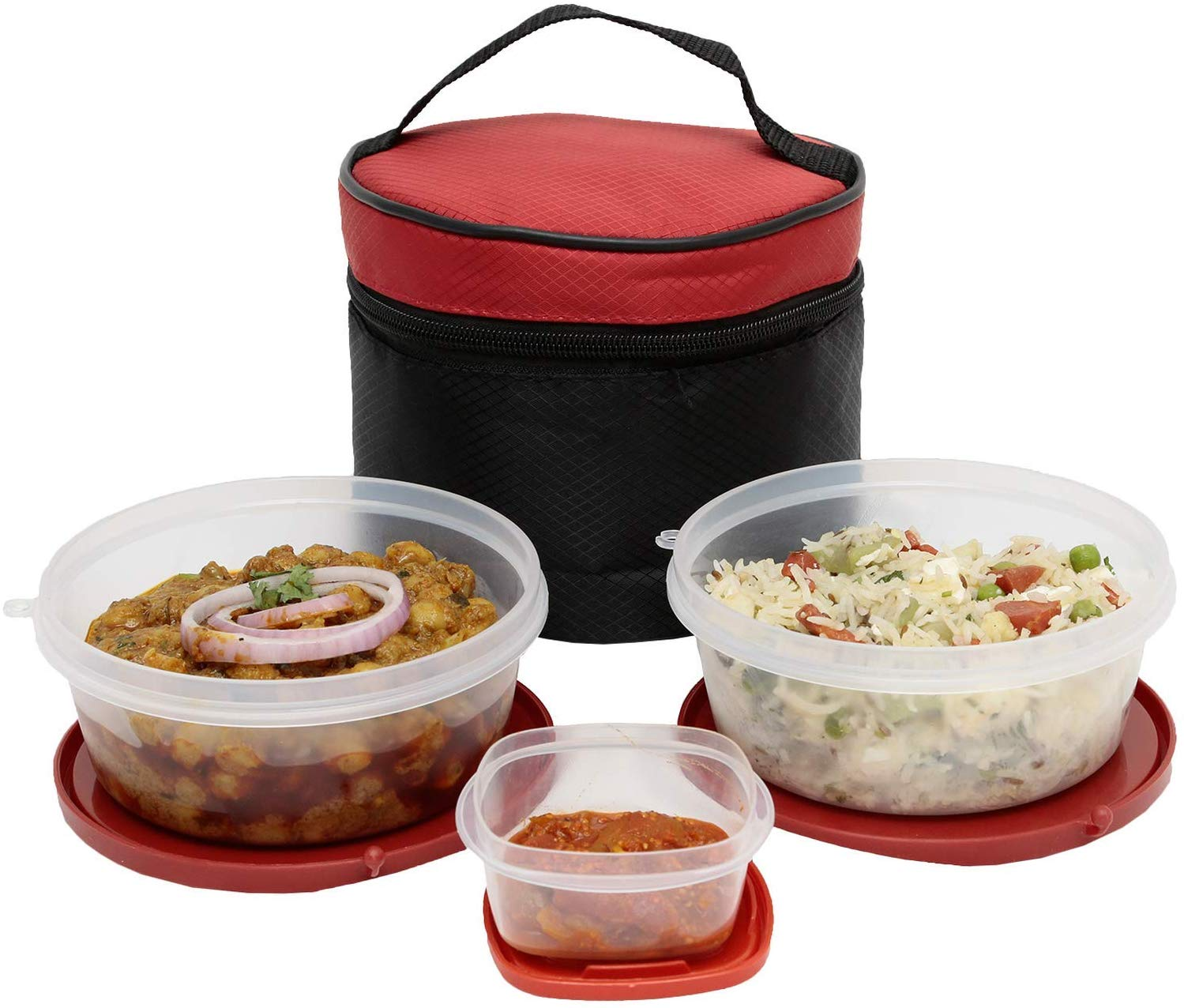 SimpArte Flexi Lid Lunch Box, 3-Pieces, Red (Patterned Black Bag)