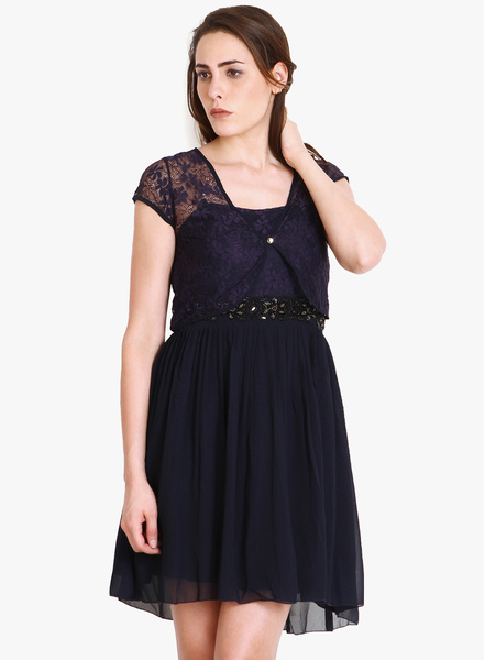 Soie Blue Solid Shift Dress Flat 80% Discount