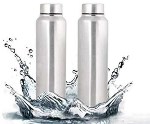 Stainless Steel Water Bottle, 1 Litre Silver Pack of 2