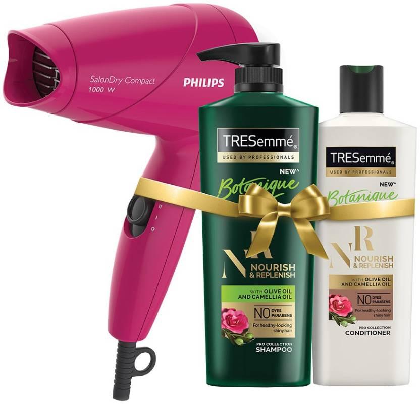 TRESemme Nourish & Replenish Shampoo 580ml & Conditioner 190ml Combo Pack + Philips Hair Dryer