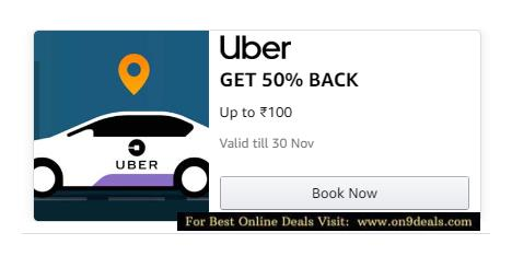 Uber Cabs - Flat 50% Cashback Max Rs.100 With Amazon Pay Wallet