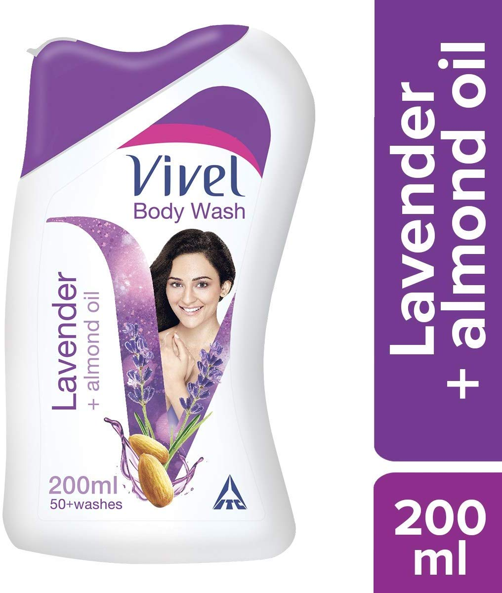 Vivel Body Wash, Lavender and Almond Oil, 200ml with Free Vivel Loofah