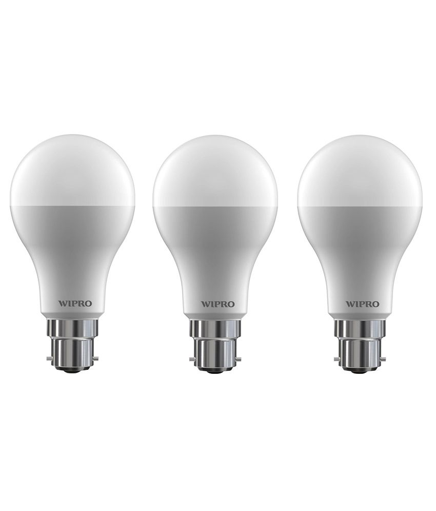 Wipro 15W LED Bulb 6500K (Cool Day Light) - Pack of 3