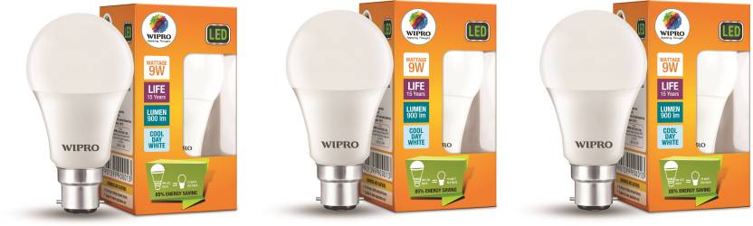Wipro 9 W B22 D LED Bulb Pack of 3
