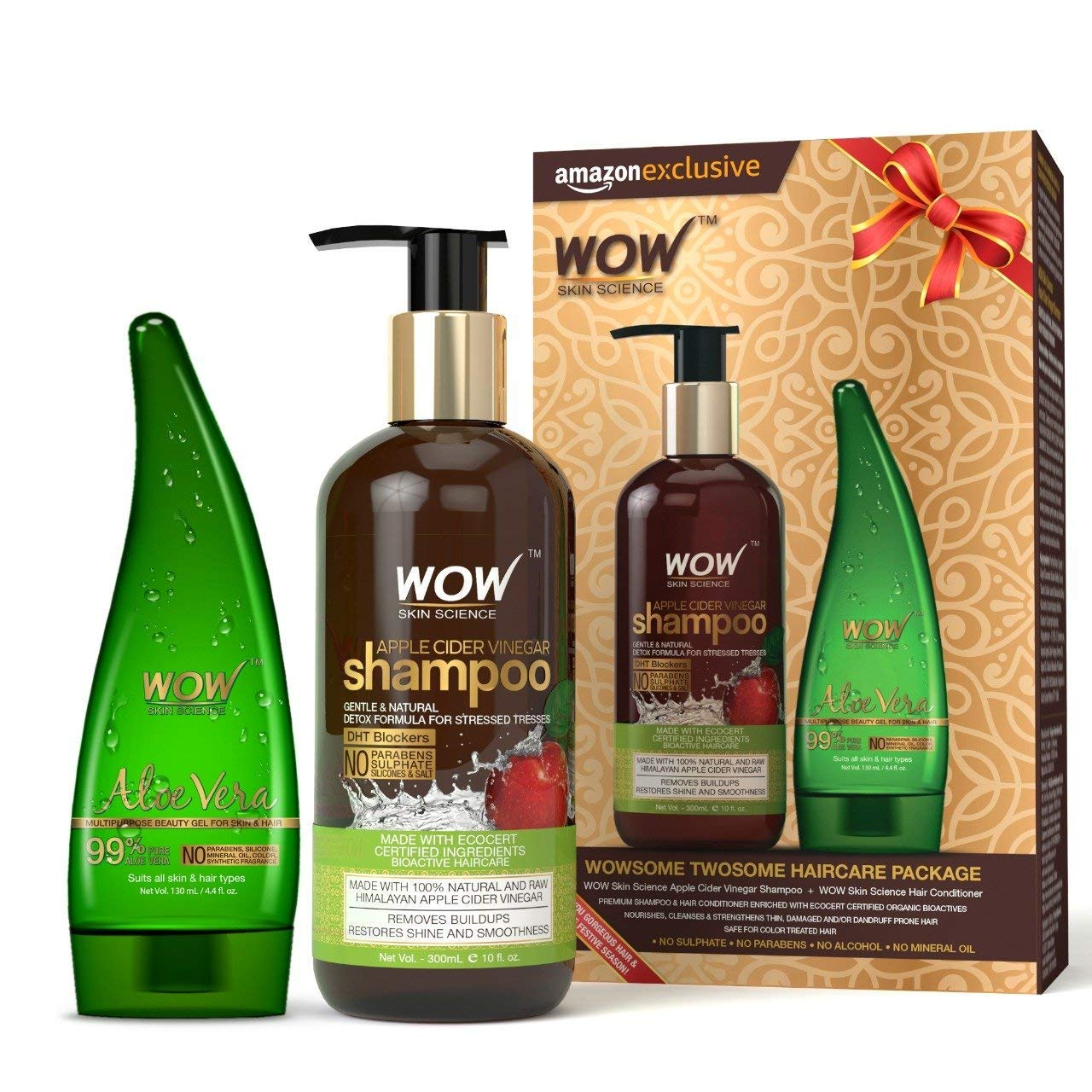 WOW Apple Cider Vinegar Shampoo with WOW 99% Pure Aloe Vera Gel Combo Kit