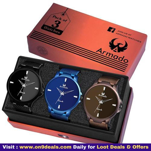 ARMADO 5702 Combo of 3 Different Colour Analogue Watch for Men and Boys + Free Shipping