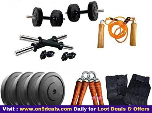Aurion 16 kg home gym Set with 14 Inch Dumbbell rods + Accessories