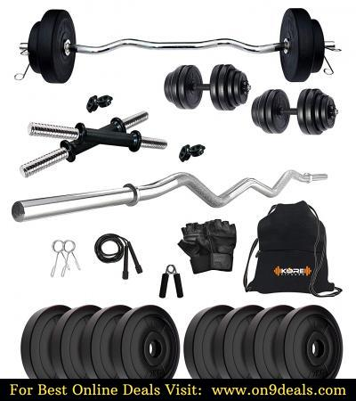 Kore PVC 16-30 Kg Home Gym Set with One 3 Ft Curl and One Pair Dumbbell Rods Gym Accessories