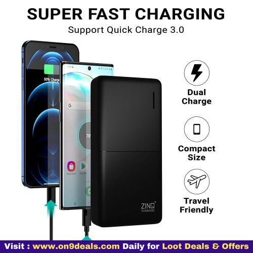 Zinq 20000mAh Li-Polymer Power Bank with 18W PD and QC 3.0 Quick Charge Z20KP